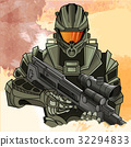 Futuristic spaceman with weapon 32294833