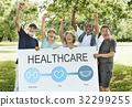 Senior people holding network graphic overlay banner 32299255