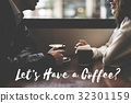 Couple Dating Coffee Cafe Spend Time Together Word 32301159