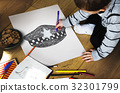 Children with a drawing of police hat 32301799