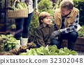 Group of people gardening backyard together 32302048