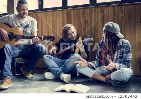 People Playing Guitar Rehearsal Band 32302442