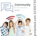Children holding banner network graphic overlay background 32305735