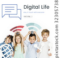 Children holding banner network graphic overlay background 32305738