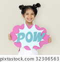 Little GIrl Smiling Happiness Playful Pow Comic Speech Bubble 32306563