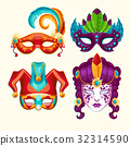 Collection of cartoon carnival masks decorated 32314590
