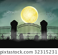 silhouette cemetery graveyard gate with moon night 32315231