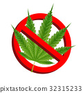 prohibition signs with green marijuana leaf vector 32315233