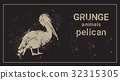 Silhouette Pelican In Grunge Design Style Animal 32315305