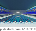 Indoor Olympic swimming pool arena with blue seats 32316919