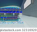 Indoor Olympic swimming pool arena with blue seats 32316920