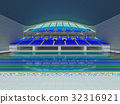 Indoor Olympic swimming pool arena with blue seats 32316921