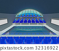 Indoor Olympic swimming pool arena with blue seats 32316922