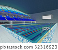 Indoor Olympic swimming pool arena with blue seats 32316923
