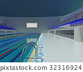 Indoor Olympic swimming pool arena with blue seats 32316924