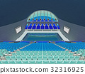 Indoor Olympic swimming pool arena with blue seats 32316925