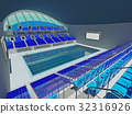 Indoor Olympic swimming pool arena with blue seats 32316926