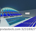 Indoor Olympic swimming pool arena with blue seats 32316927