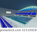 Indoor Olympic swimming pool arena with blue seats 32316928