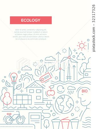 Ecology - line design brochure poster template A4 32317326