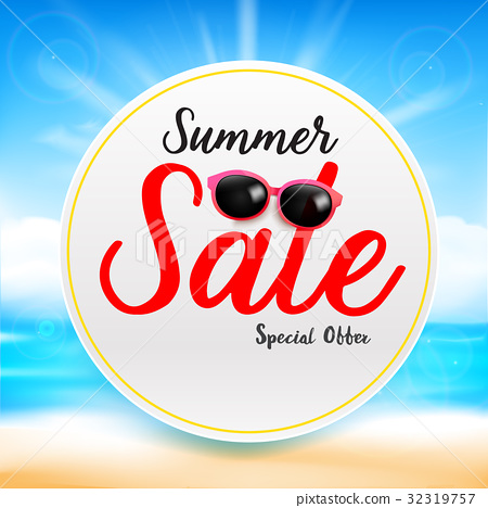 Summer sale titile text on white circle frame 32319757