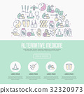 Alternative medicine concept with thin line icons 32320973