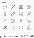 Sewing equipment thin line icons set 32321048