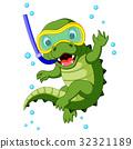 Cute crocodile diving cartoon 32321189