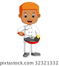 Little chef cartoon with frying pan 32321332