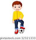 Boy cartoon playing soccer 32321333