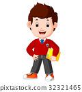 kids boy carrying book cartoon 32321465
