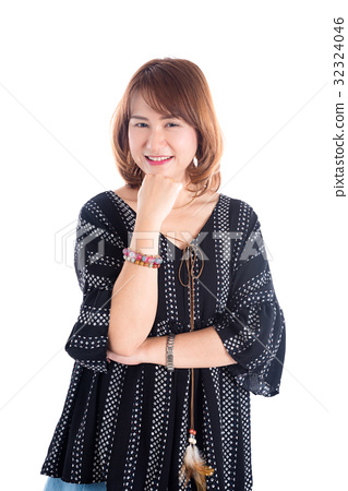 Beautiful middle age woman smiling over white  32324046