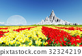 Field of flowers with moon 3D render 32324219