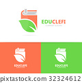 book and leaf logo combination. Library and eco 32324612