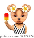 Funny animal in bikini holding ice cream 32324974