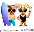 Animals in sunglasses holding surf and cocktail 32325590