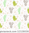 Cactus desert vector seamless pattern. Green and 32326036