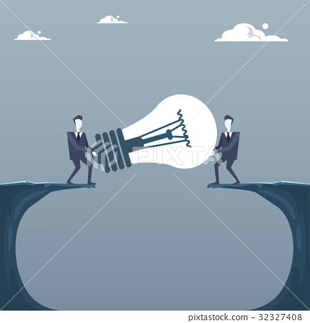 Business Men Giving Light Bulb Over Cliff Gap 32327408