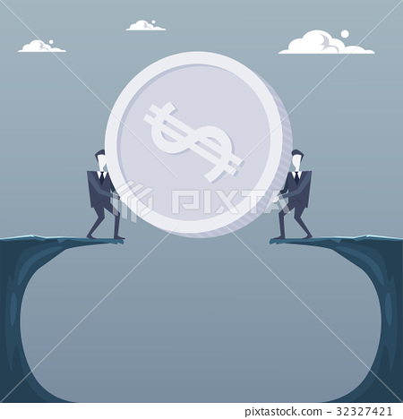 Business Men Giving Coin Over Cliff Gap Partners 32327421