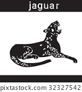 Jaguar In Grunge Style Silhouette Hand Drawn 32327542