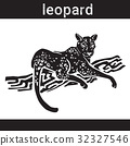 Leopard In Grunge Style Silhouette Hand Drawn 32327546