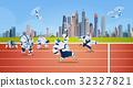 Modern Robots Team Running On Sport Group 32327821