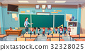 School Children Group With Teacher In Classroom 32328025