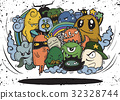Hand drawn Crazy doodle Monster group 32328744