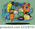 Hand drawn Crazy doodle Monster group 32328745