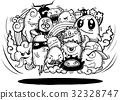 Hand drawn Crazy doodle Monster group 32328747