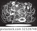 Hand drawn Crazy doodle Monster group 32328748