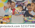 Group of diverse children blowing birthday cake together 32337308