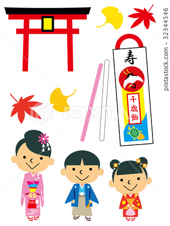 festival day for children of three, five and seven years of age, younger, japanese clothes 32344546