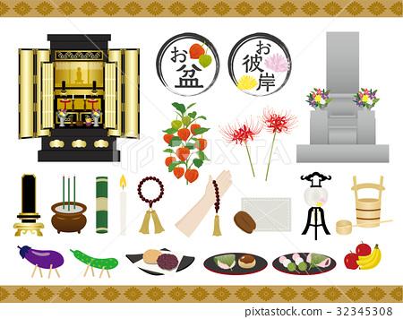 Bon Festival Okishima illustration material set 32345308
